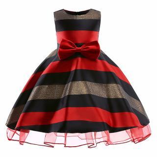 Dívčí pruhované šaty s mašlí - 2 barvy Barva: červená, Velikost: 3