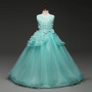 Dívčí šaty pro princezny - 4 barvy Barva: tyrkysová, Velikost: 4