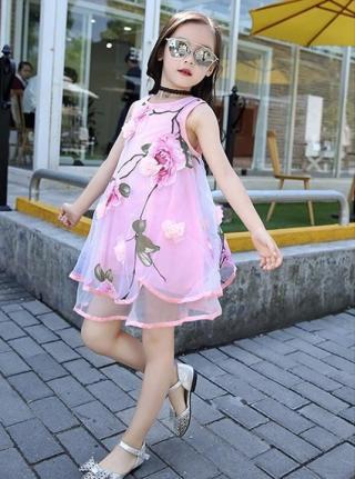 Dívčí šaty pro princezny s květinami - 3 barvy Barva: růžová, Velikost: 6