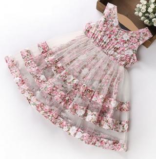 Dívčí šaty s květinami - 3 barvy Barva: růžová, Velikost: 5