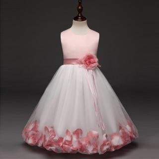 Dívčí šaty s květinami - 6 barev Barva: světle růžová, Velikost: 4