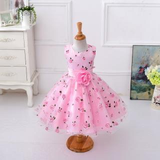 Dívčí šaty s květinami a růží - 2 barvy Barva: růžová, Velikost: 3