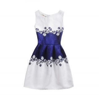 Dívčí šaty s květinami - Modro-bílé Velikost: 5