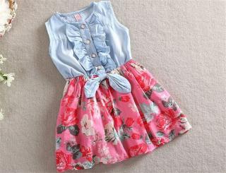 Dívčí šaty s květinovou róbou - 2 barvy Barva: červená, Velikost: 6