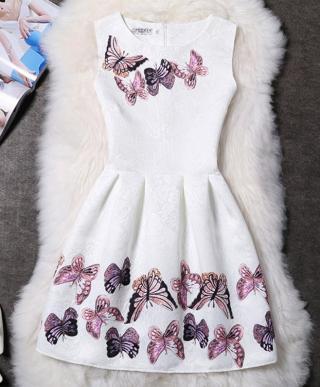 Dívčí šaty s motýli - Bílé Velikost: 5