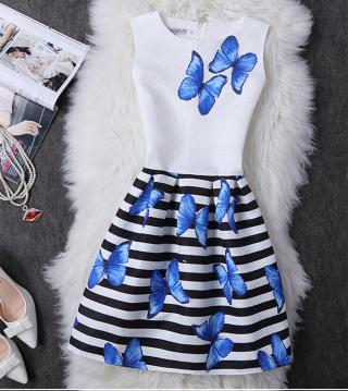 Dívčí šaty s motýlky - 2 barvy Barva: modrá, Velikost: 5