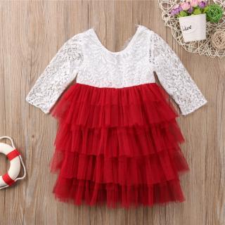 Dívčí šaty s volánky - 3 barvy Barva: červená, Velikost: 6-9 měsíců