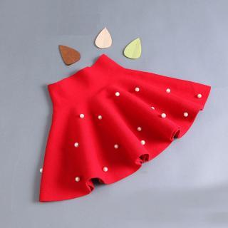 Dívčí sukně s vysokým pasem a perlami Barva: červená, Velikost: 2