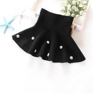 Dívčí sukně s vysokým pasem a perlovými květinami - 2 barvy Barva: černá, Velikost: 2