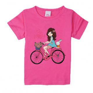 Dívčí tričko - Dívka na kole - 3 barvy Barva: tmavě růžová, Velikost: 9-12 měsíců