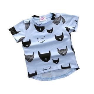 Dívčí tričko s karikaturou koček - 3 barvy Barva: modrá, Velikost: 2
