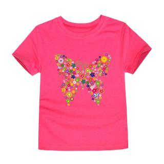 Dívčí tričko s Motýlem - 12 barev Barva: tmavě růžová, Velikost: 2