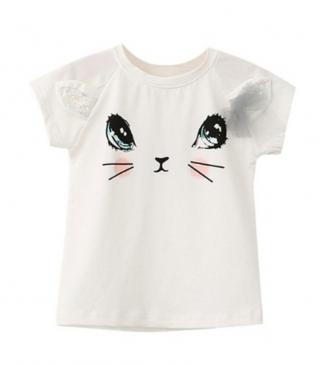 Dívčí tričko s potiskem kočky - 2 barvy Barva: bílá, Velikost: 9-12 měsíců