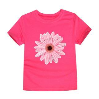 Dívčí tričko s potiskem květiny - 12 barev Barva: růžová, Velikost: 2