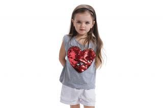 Dívčí tričko s potiskem srdíčka a flitry Velikost: 3
