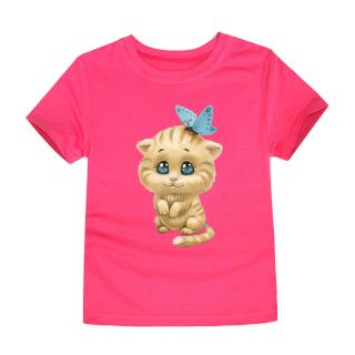 Dívčí tričko s roztomilou kočičkou - 12 barev Barva: růžová, Velikost: 2
