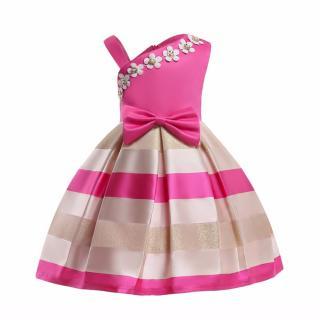 Dívčí večerní šaty s květinami - 2 barvy Barva: tmavě růžová, Velikost: 3
