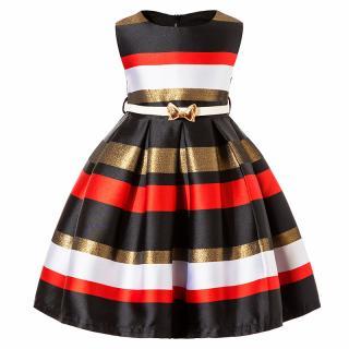Dívčí večerní šaty s proužky a páskem - 2 barvy Barva: červená, Velikost: 3
