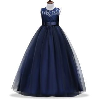 Dlouhé dívčí šaty - 7 barev Barva: tmavě modrá, Velikost: 6