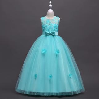 Dlouhé dívčí šaty s květinami a mašlí - 6 barev Barva: světle modrá, Velikost: 4