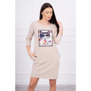 Dress with cat graphics 3D beige dámské Neurčeno One size