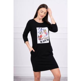 Dress with graphics 3D Watch black dámské Neurčeno One size