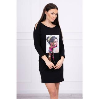 Dress with graphics and colorful bow 3D black dámské Neurčeno One size