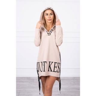 Dress with hood and print beige dámské Neurčeno One size