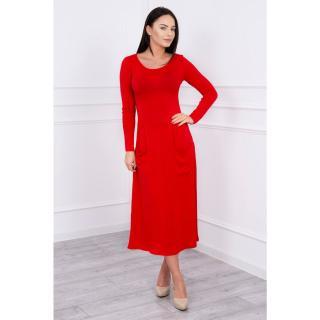 Dress with round neckline red dámské Neurčeno L