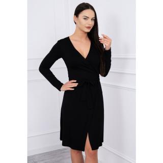 Dress with tie at waist black dámské Neurčeno XXL