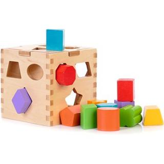 Dřevěná edukační kostka na vkládaní tvarů