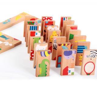 Dřevěné barevné domino se zvířátky - 28 ks