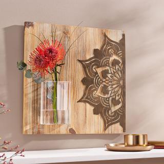 Dřevěný obraz mandala s vázou
