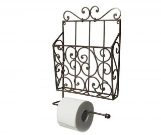 Držák na toaletní papír a časopisy Antique Brown Černá