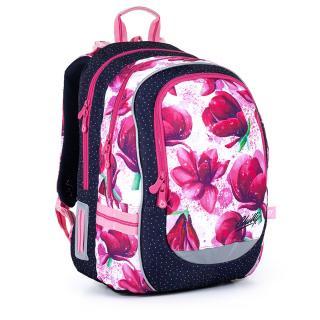 Dvoukomorový batoh s magnoliemi a barevnými tečkami Topgal CODA 21009 G,Dvoukomorový batoh s magnoliemi a barevnými tečkami Topgal CODA 21009 G dámské 43 cm