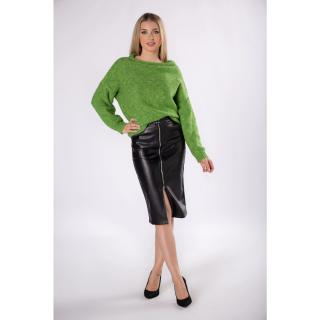 eco-leather pencil skirt with an zipper at the front dámské Neurčeno S