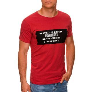Edoti Mens printed t-shirt S1465 pánské Red M