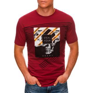 Edoti Mens printed t-shirt S1469 pánské Red L