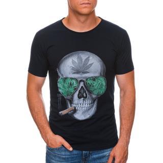 Edoti Mens printed t-shirt S1477 pánské Navy M