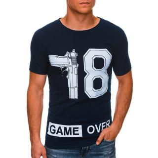 Edoti Mens printed t-shirt S1478 pánské Navy M