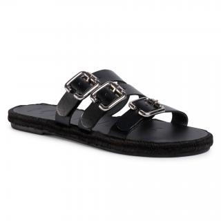 Espadrilky MANEBI - Leather Sandals S 2.1 Y0 Black W Triple Buckle dámské Černá 35