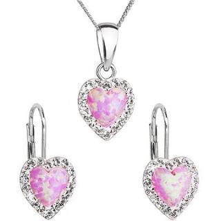 EVOLUTION GROUP 39161.1 růžový synt. opál souprava dekorovaná krystaly Swarovski®