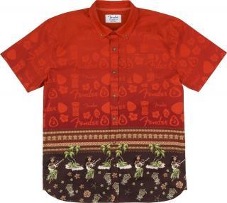 Fender The Hawaiian Button Up Hudební polokošile pánské Red L