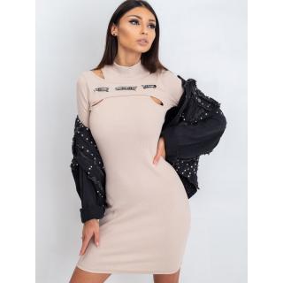 Fitted beige dress with a stripe dámské Neurčeno one size S/M