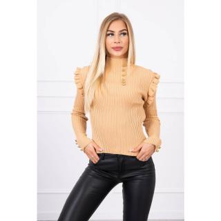 Fitted sweater blouse with buttons beige dámské Neurčeno One size