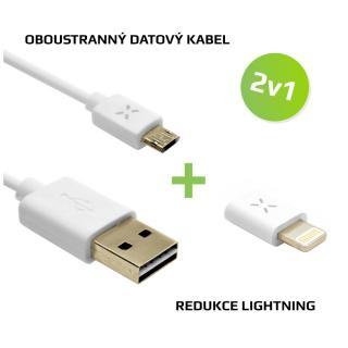 FIXED 2v1 pro nabíjení -Oboustranný kabel microUSB Lightning redukce, bílá