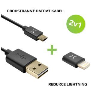 FIXED 2v1 pro nabíjení -Oboustranný kabel microUSB Lightning redukce, černá