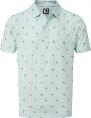 Footjoy Lisle Cocktail Print Mens Polo Shirt Ice Blue M pánské M