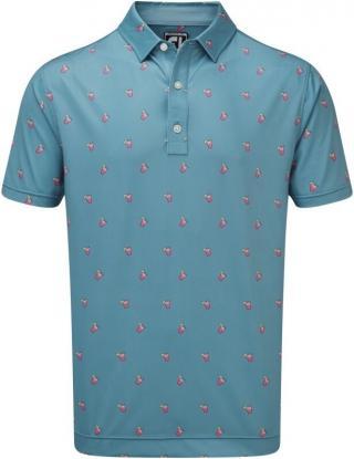 Footjoy Lisle Cocktail Print Mens Polo Shirt Storm Blue M pánské M
