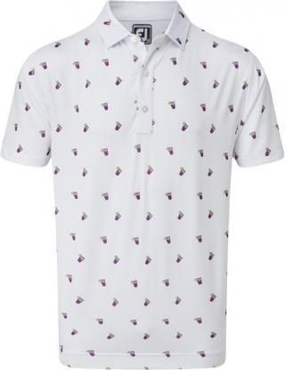 Footjoy Lisle Cocktail Print Mens Polo Shirt White L pánské L
